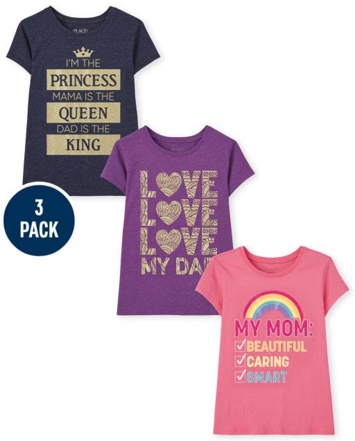 Girls Short Sleeve Family Graphic Tee 3-Pack