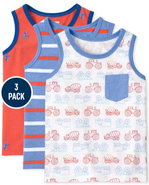 Toddler Boys Mix And Match Sleeveless Print Tank Top 3-Pack