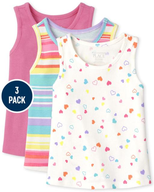 Toddler Girls Print Ribbed Tank Top 3-Pack