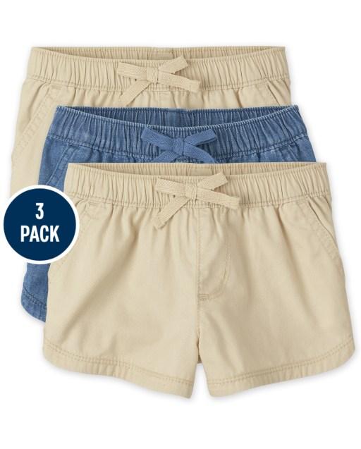 Toddler Girls Woven Pull On Shorts 3-Pack