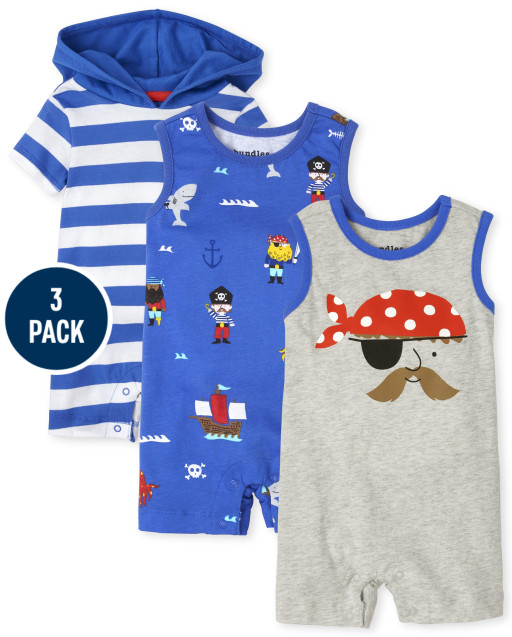 Baby Boys Short Sleeve And Sleeveless Pirate Print And Striped Knit Romper 3-Pack