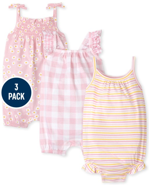 Baby Girls Sleeveless Striped Knit Ruffle Romper Floral Print Knit Smocked Romper And Gingham Knit Ruffle Bow Romper 3-Pack