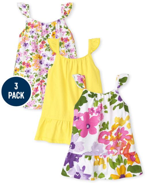 Baby Girls Sleeveless Floral Knit Ruffle Bodysuit Dress 3-Pack