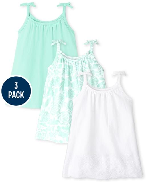 Baby Girls Sleeveless Eyelet Knit Tie Shoulder Bodysuit Dress 3-Pack