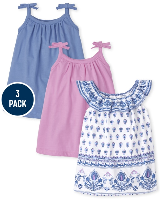 Baby Girls Sleeveless Border Print And Solid Bow Knit Bodysuit Dress 3-Pack