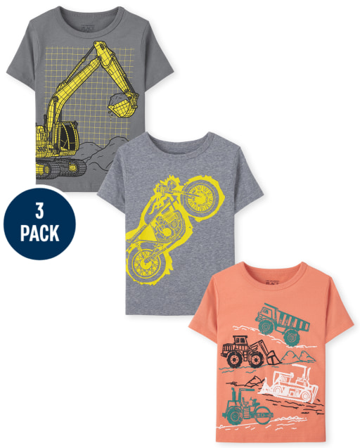 Toddler Boys Short Sleeve Construction Graphic Tee 3-Pack