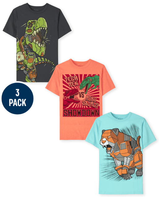 Boys Short Sleeve Robot Graphic Tee 3-Pack