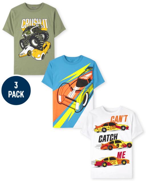 Pack de 3 camisetas estampadas de Cars de manga corta para niños