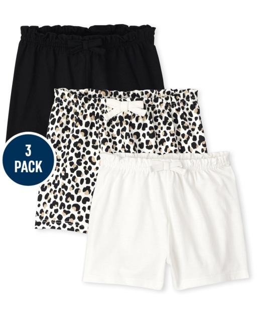 Paquete de 3 pantalones cortos con cintura de bolsa de papel de punto liso y estampado de leopardo para bebés