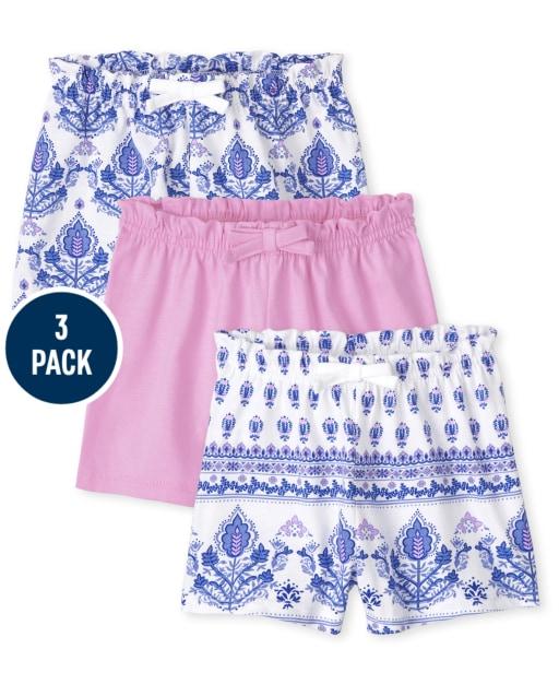 Paquete de 3 pantalones cortos de cintura con bolsa de papel de punto liso y estampado para bebés