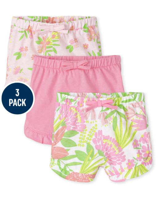 Pack de 3 pantalones cortos con volantes y estampado tropical para bebé niña