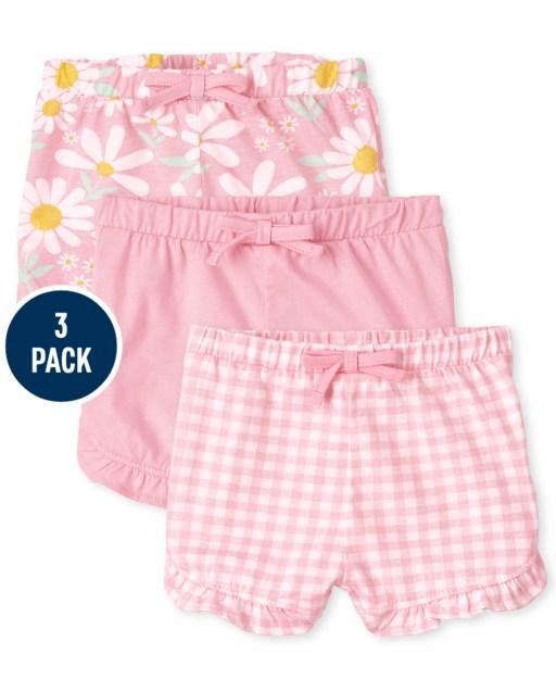 Pack de 3 pantalones cortos de punto liso con volantes y vichy Daisy para bebé niña