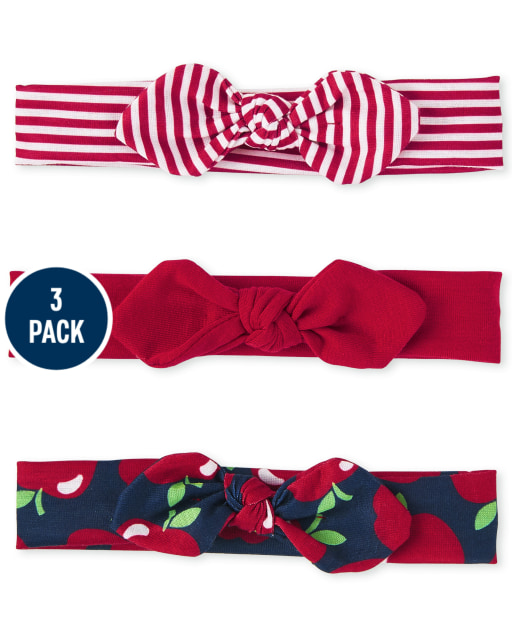 Baby Girls Apple Bow Headwrap 3-Pack