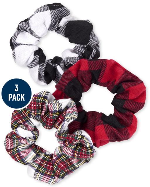 Girls Christmas Plaid Velvet Scrunchie 3-Pack