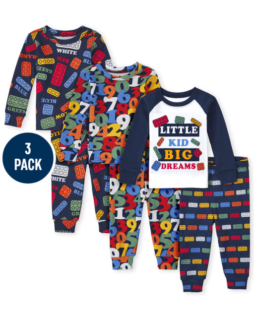 Unisex Baby And Toddler Long Sleeve Education Snug Fit Cotton 6-Piece Pajamas