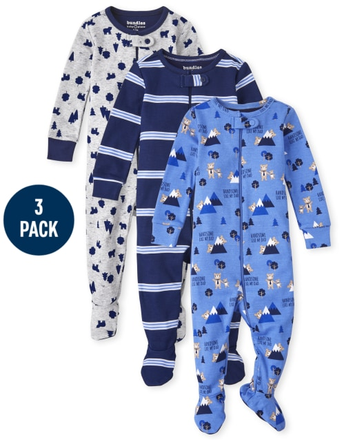 Baby And Toddler Boys Long Sleeve Bear Snug Fit Cotton One Piece Pajamas 3-Pack