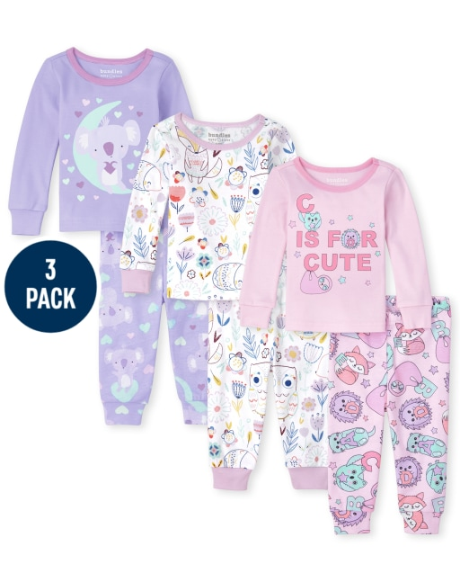 Baby And Toddler Girls Long Sleeve Animals Snug Fit Cotton 6-Piece Pajamas