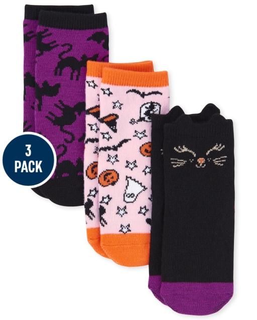 Paquete de 3 calcetines a media pierna de Halloween para niñas pequeñas