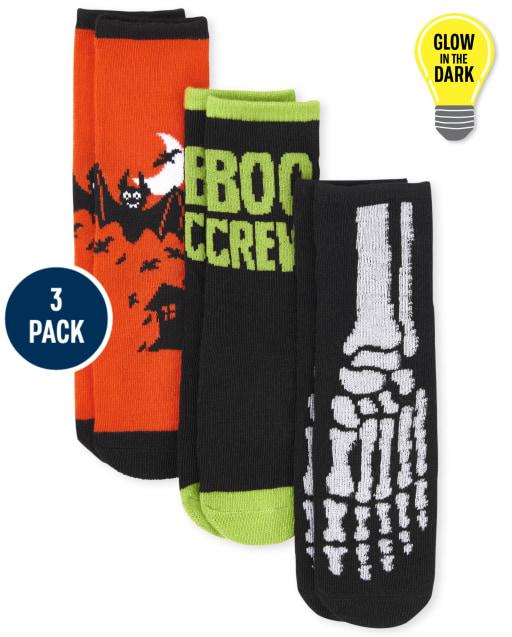 Paquete de 3 calcetines unisex para niños pequeños de Halloween