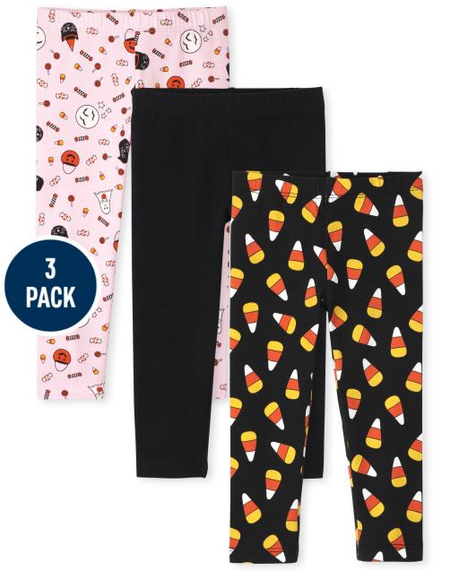 Toddler Girls Halloween Print Knit Leggings 3-Pack
