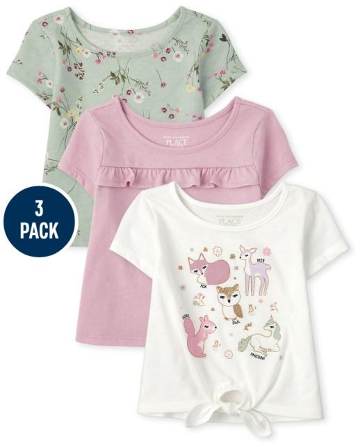 Pack de 3 camisetas de manga corta con estampado floral de animales para niñas pequeñas