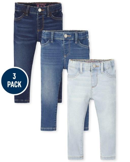 Toddler Girls Stretch Knit Denim Legging Jeans 3-Pack