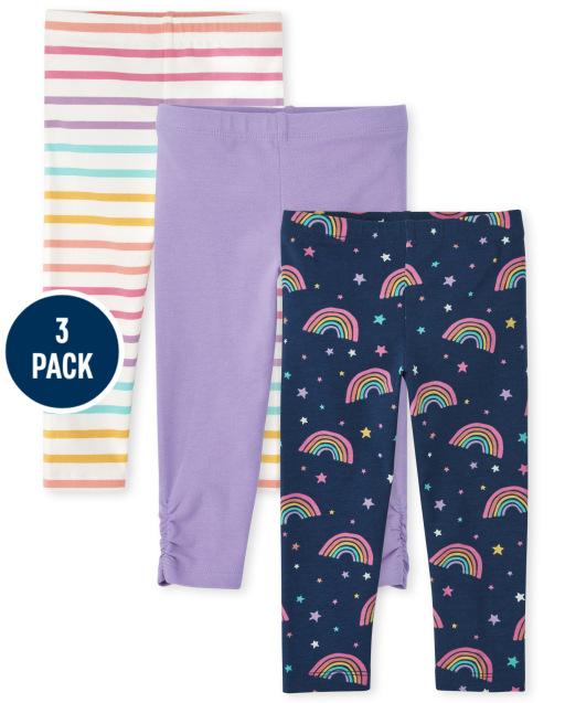 Toddler Girls Rainbow Print Knit Leggings 3-Pack