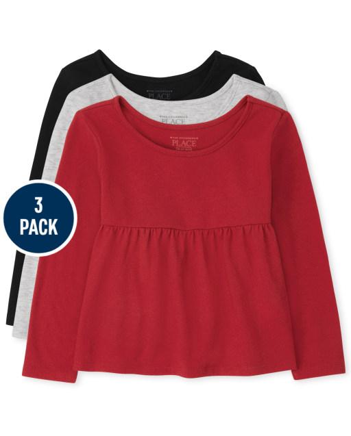 Toddler Girls Long Sleeve Tops 3-Pack
