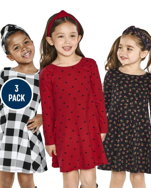 Toddler Girls Long Sleeve Print Knit Skater Dress 3-Pack