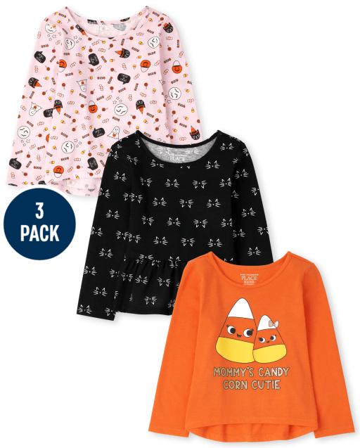 Toddler Girls Long Sleeve Halloween Tops 3-Pack