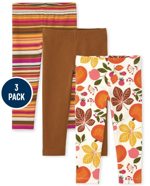 Paquete de 3 leggings de punto con estampado de cosecha para niñas pequeñas