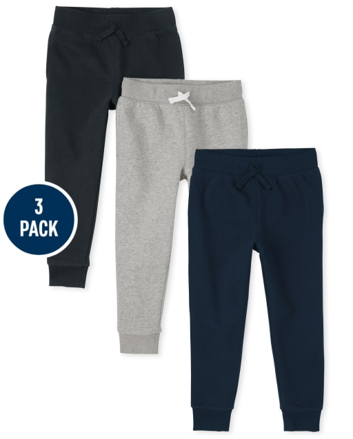 Boys Active French Terry Jogger Pants 3-Pack