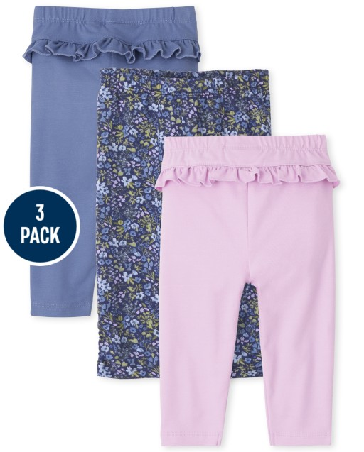 Baby Girls Floral Knit Pants 3-Pack