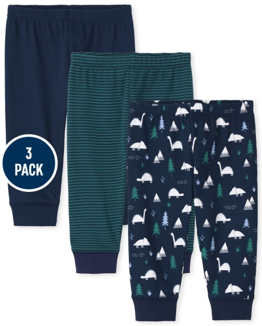 Baby Boys Dino Knit Pants 3-Pack