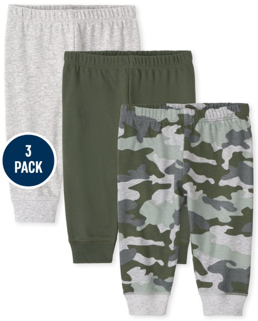 Baby Boys Camo Knit Pants 3-Pack