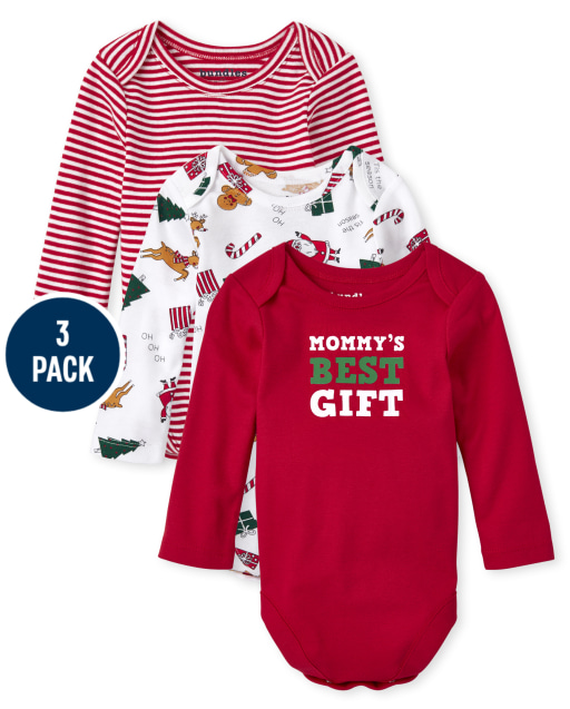 Unisex Baby Long Sleeve Christmas Bodysuit 3-Pack