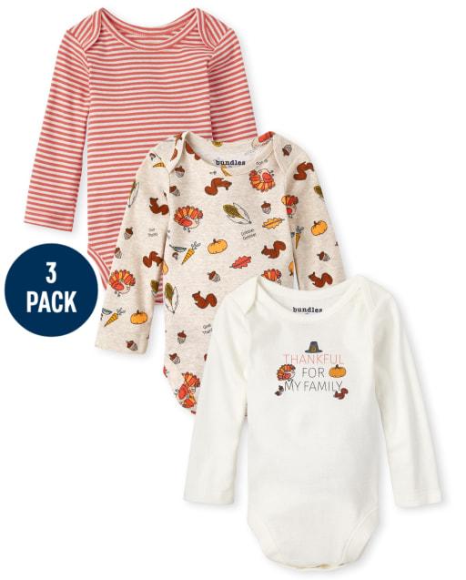 Unisex Baby Long Sleeve Thanksgiving Bodysuit 3-Pack