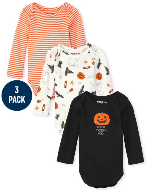 Unisex Baby Long Sleeve Halloween Bodysuit 3-Pack