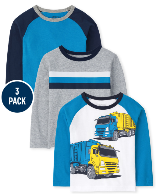 Baby And Toddler Boys Long Sleeve Graphic Top 3-Pack