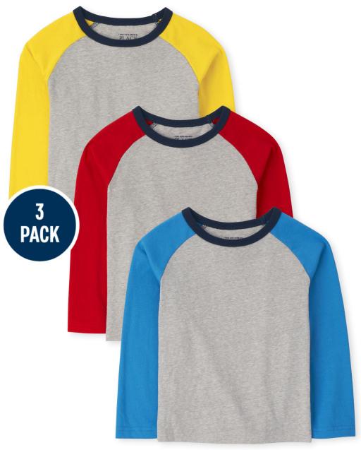Baby And Toddler Boys Long Sleeve Raglan Top 3-Pack