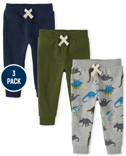 Baby And Toddler Boys Active Dino Fleece Jogger Pants 3-Pack
