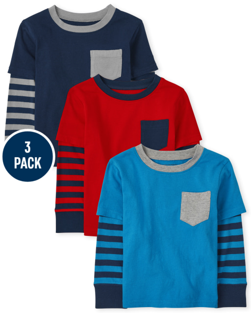 Baby And Toddler Boys Long Striped Sleeve 2 In 1 Top 3-Pack