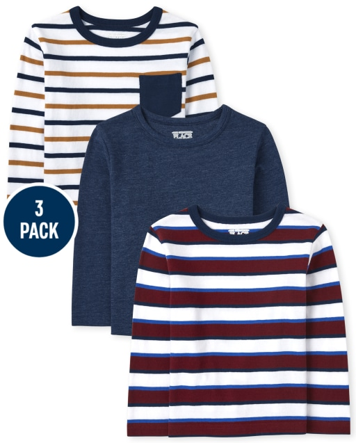 Baby And Toddler Boys Long Sleeve Striped Top 3-Pack