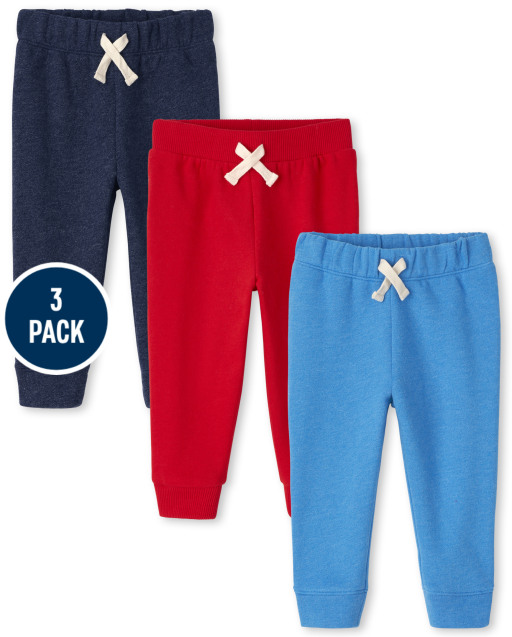 Baby And Toddler Boys Active Fleece Jogger Pants 3-Pack