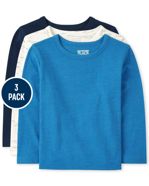 Toddler Boys Long Sleeve Marled Top 3-Pack