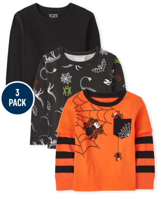 Toddler Boys Long Sleeve Halloween Top 3-Pack