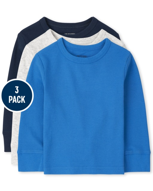 Toddler Boys Long Sleeve Thermal Top 3-Pack