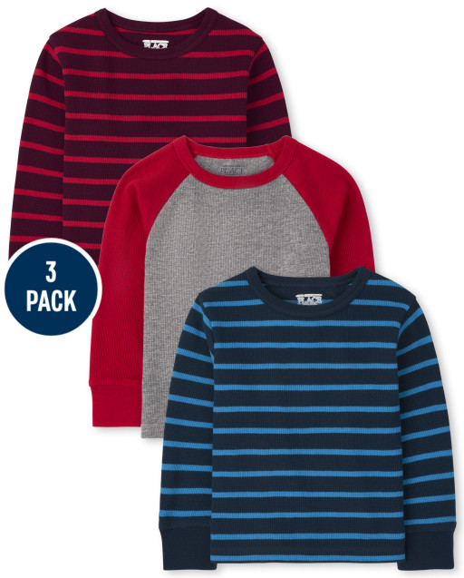 Toddler Boys Long Sleeve Striped Thermal Top 3-Pack