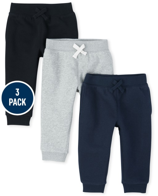 Toddler Boys Active French Terry Jogger Pants 3-Pack