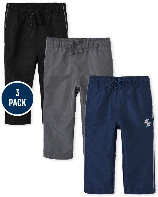 Pantalón cortavientos tejido deportivo PLACE para bebés y niños pequeños, paquete de 3